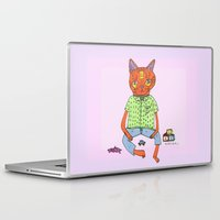 coraline Laptop & iPad Skins featuring Cat On the Tracks  by Kassia M. K.