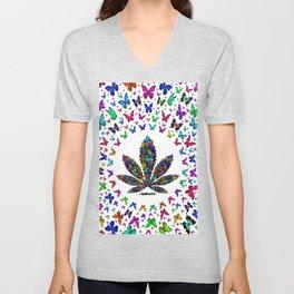 Butterflies Cannabis Leaf 3 Unisex V-Neck