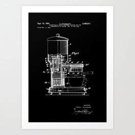 Espresso Machine Patent Artwork - White on Black Art Print