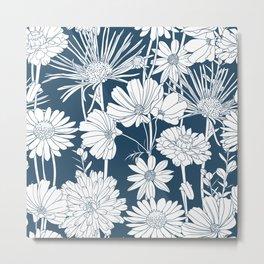 Festive, Floral Prints, Wild Flowers, Dark Teal and White Metal Print