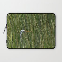 Egret in Tall Reeds Laptop Sleeve