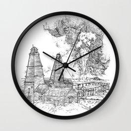 Oil well on fire - Derrick - 19th Century Wall Clock