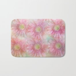 Pink daisies on a pastel background. Bath Mat