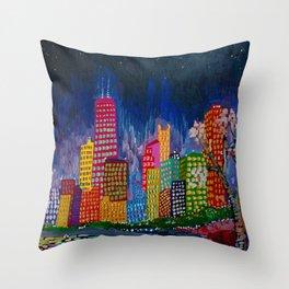 Chicago Night Life Throw Pillow