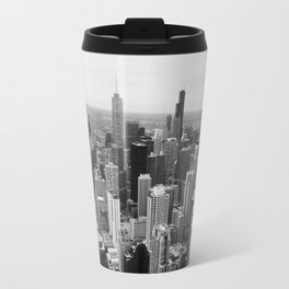 Chicago Skyline - Black and White Photograph Travel Mug