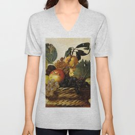 "Michelangelo Merisi da Caravaggio ""Basket of Fruit"" Unisex V-Neck"