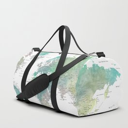 Watercolor world map in muted green and brown Duffle Bag