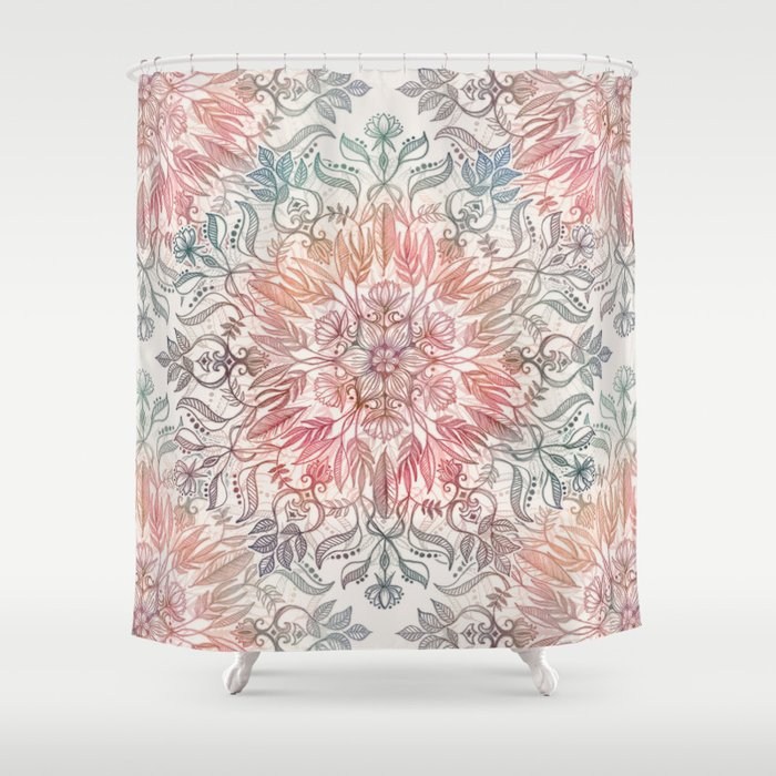 Autumn Spice Mandala In Coral Cream And Rose Shower Curtain By Micklyn