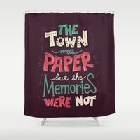 paper towns Shower Curtains featuring Paper Towns: Town and Memories by Risa Rodil