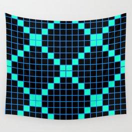 Black and Aqua Grid Crosstile Wall Tapestry