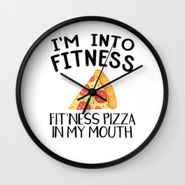 Funny Pizza Fitness Foodie Workout Gift Wall Clock