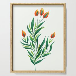 Abstract Green Plant With Orange Buds Serving Tray