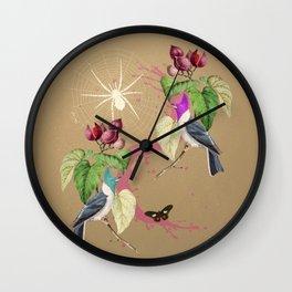 Exotic Gold Glitter Birds Wall Clock