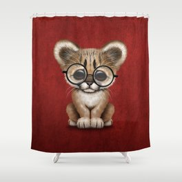 Cute Cougar Cub Wearing Reading Glasses on Red Shower Curtain