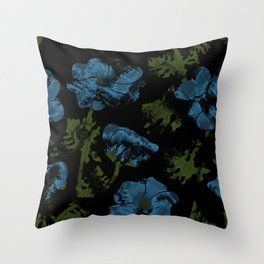Blue flowers on a black background Throw Pillow