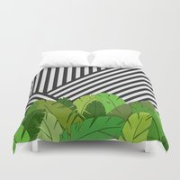 bianca green Duvet Covers featuring Green Direction by Bianca Green