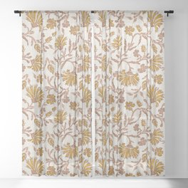 KALAMI FLORAL MUSTARD Sheer Curtain