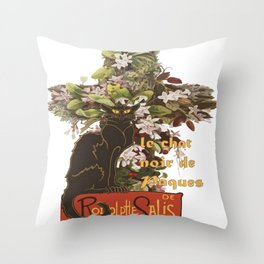 Easter Le Chat Noir de Paques With Floral Cross Throw Pillow
