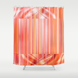 mixed Pattern orange Shower Curtain