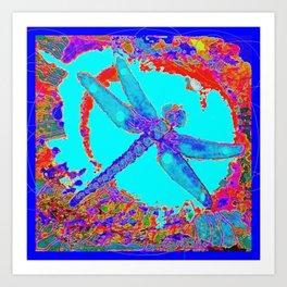 Tropical Blue Lagoon Dragonfly Abstract Art Print