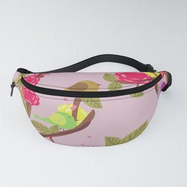Vintage Birds and flowers Fanny Pack
