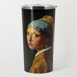 Girl with a Pearl Earring old painting Travel Mug