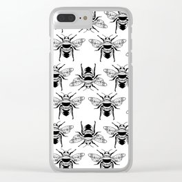 Floral Bees Clear iPhone Case