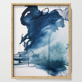 Pacific Grove: a pretty minimal abstract piece in blue by Alyssa Hamilton Art Serving Tray