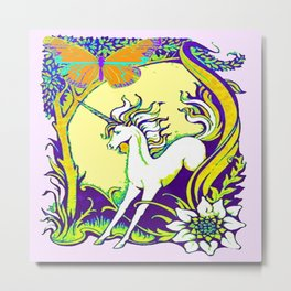 Unicorn Butterfly Woodland Landscape Metal Print