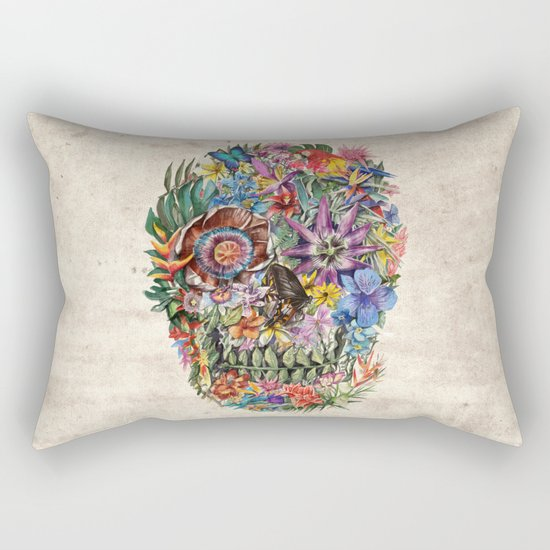 tropilcal floral skull 5 Rectangular Pillow