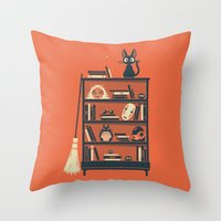 ghibli Throw Pillows featuring Ghibli Shelf // Miyazaki by Daniel Mackey