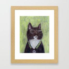 Cat in Shades Framed Art Print