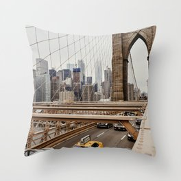 View on the manhatten from the Brooklyn Bridge in New York City, USA   New York City yellow caps driving   Travel photography   NY building architecture photo Art Print  Throw Pillow