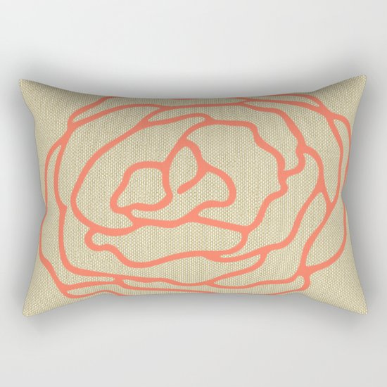 Rose in Deep Coral on Linen Rectangular Pillow