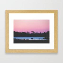 Pink skies over the lake Framed Art Print