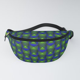Tiled pattern of green squares and striped blue triangles. Fanny Pack