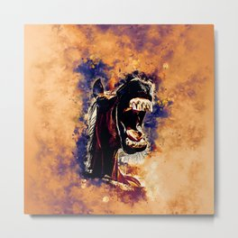 horse hilarious big mouth watercolor splatters late sunset Metal Print