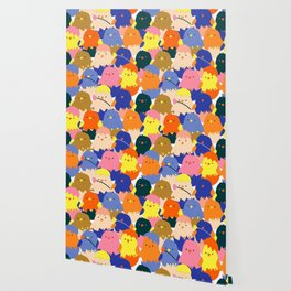 Colored Baby Chickens pattern Wallpaper