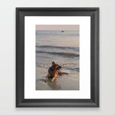 German Shepherd in the Surf Palolem Framed Art Print