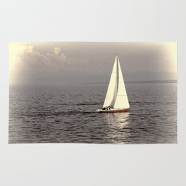 Sailing boat on the lake Rug