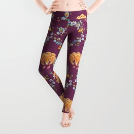 Pangolin with ants and daisies in mauve Leggings