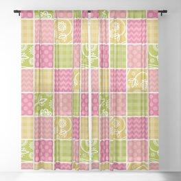 Zigzag, Polka Dots, Gingham - Green Pink Yellow Sheer Curtain