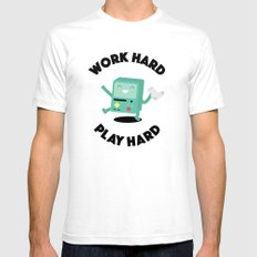 Work Hard, Play BMO SMALL White Mens Fitted Tee