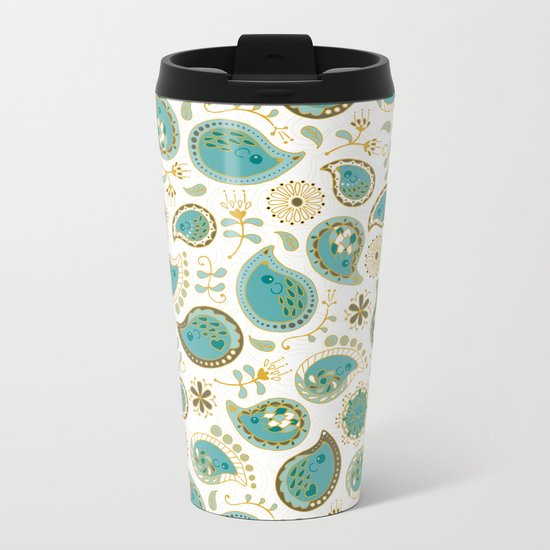 Hedgehog Paisley_Teal BgWhite Metal Travel Mug