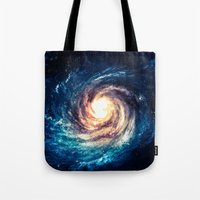 xbox Tote Bags featuring Spiral Galaxy by Zavu