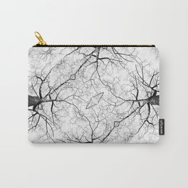ABSTRACT BLACK AND WHITE FOREST TREE PATTERN Carry-All Pouch