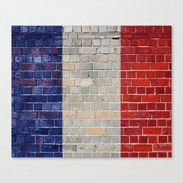 France flag on a brick wall Canvas Print