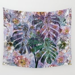 Tropical flowers and leaves Wall Tapestry