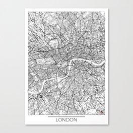 London Map White Canvas Print