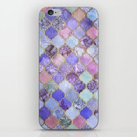 moroccan iPhone & iPod Skins featuring Royal Purple, Mauve & Indigo Decorative Moroccan Tile Pattern by micklyn